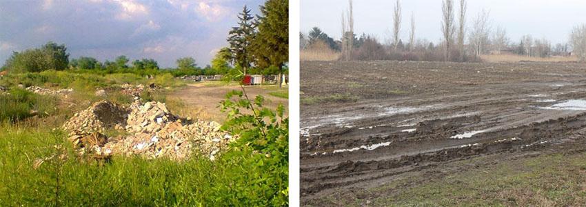 Пред роздрильованьом дзивого одпаду и тераз (Фото: В. Будински и М. З.), долу зоз схадзки Совиту МЗ
